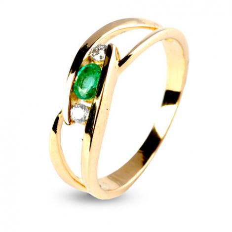 Bague émeraude 0.30 ct sertie de deux diamants 0.07 ct en Or Blanc diamant Céleste - 12562-EM
