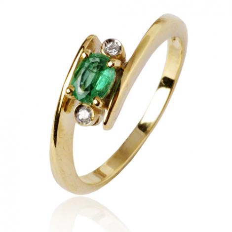 Bague Emeraude 0.40 ct sertie de deux diamants 0.04 ct en Or Jaune diamant Alixe - 10367-EM