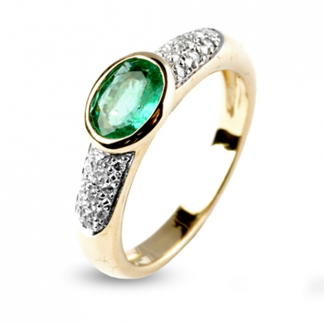 Bague émeraude 0.85 ct sertie de diamants 0.18 ct en Or Blanc diamant Veronica - 12555-EM