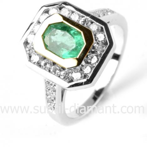 Bague émeraude en 2 Ors diamant Lorie - 12047 EM