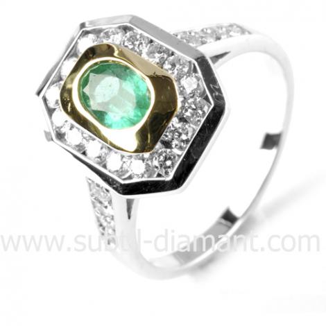 Bague émeraude en 2 Ors diamant Marylène - 12048 EM