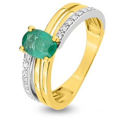 Bague Emeraude en 2 Ors diamant Raiura - MZB15BEB4