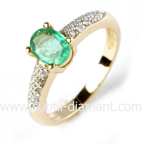 Bague émeraude en Or Blanc diamant Alba - 11625 EM