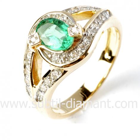 Bague émeraude en Or Blanc diamant Alya - 12379EM