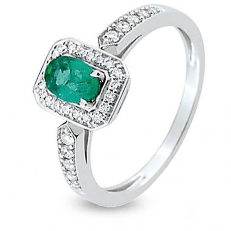 Bague Emeraude en Or Blanc diamant Armonie - 7W018GEB2