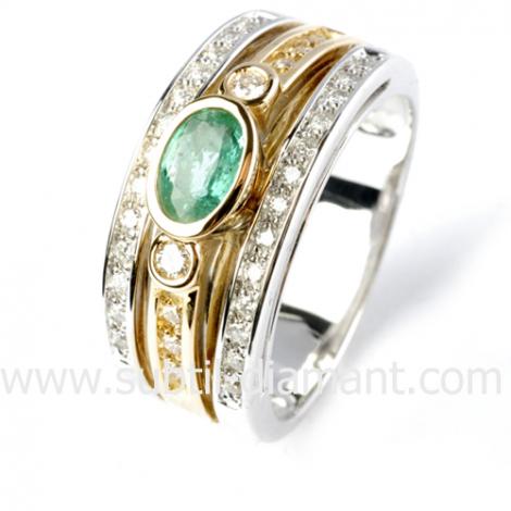 Bague émeraude en Or Blanc diamant Aurèlie - 12494 EM