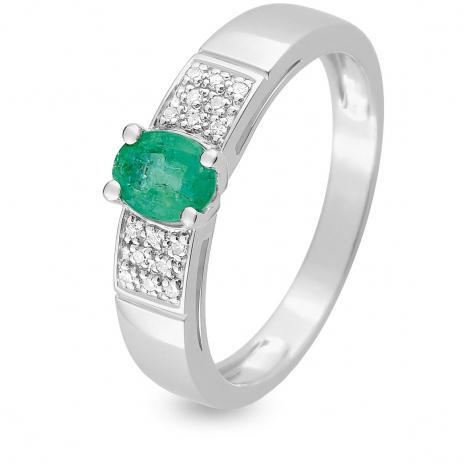 Bague Emeraude en Or Blanc diamant Camille - MZB14GEB4
