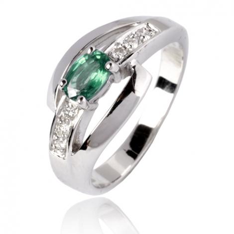 Bague émeraude en Or Blanc diamant Cordélia - 12800 EM