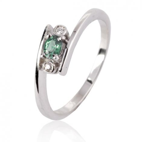 Bague Emeraude en Or Blanc diamant Daphnée - 10368 EM