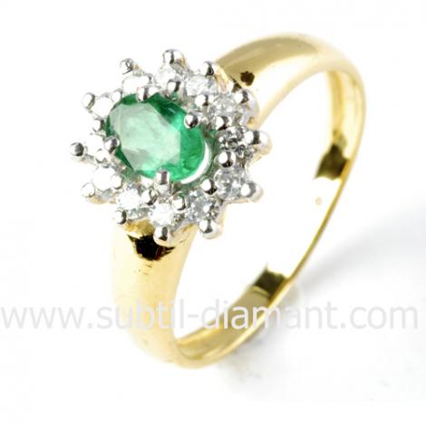 Bague émeraude en Or Blanc diamant Erica - 9642 EM