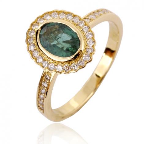 Bague Emeraude en Or Blanc diamant Glamour - 12845-EM