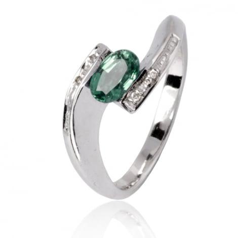 Bague émeraude en Or Blanc diamant Halia - 11693 EM