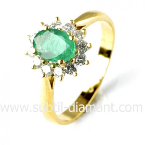 Bague émeraude en Or Blanc diamant Hannah - 10342 EM