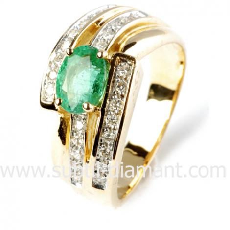 Bague émeraude en Or Blanc diamant Heidi - 12518 EM