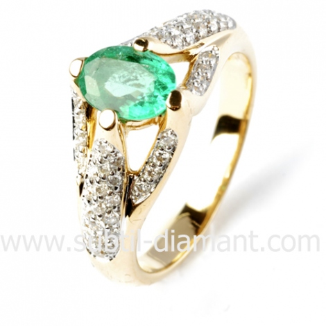 Bague émeraude en Or Blanc diamant Infinie - 12349 EM