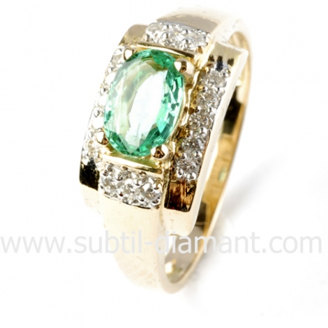 Bague émeraude en Or Blanc diamant Kathy - 12440 EM
