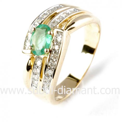 Bague émeraude en Or Blanc diamant Katia - 12517 EM