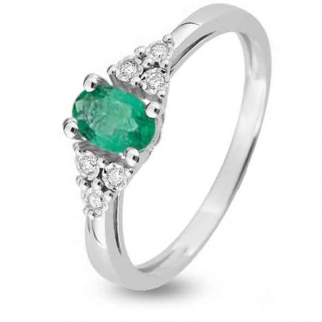 Bague Emeraude en Or Blanc diamant Kaya - MZB17GEB4
