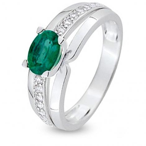 Bague Emeraude en Or Blanc diamant Liliana - 7V004GEB2