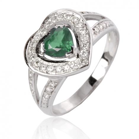 Bague émeraude en Or Blanc diamant Maeva - 12715 EM