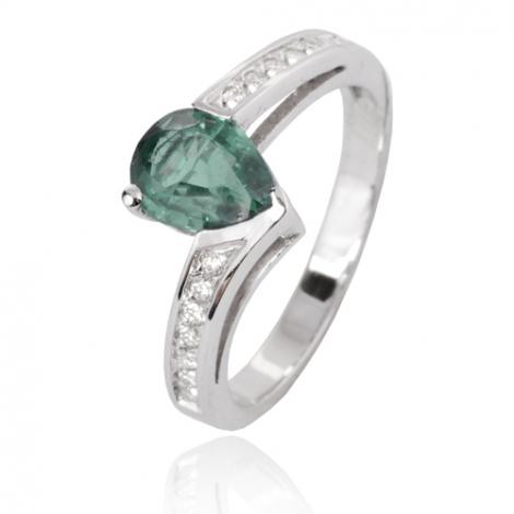 Bague émeraude en Or Blanc diamant Mahée - 12532 EM