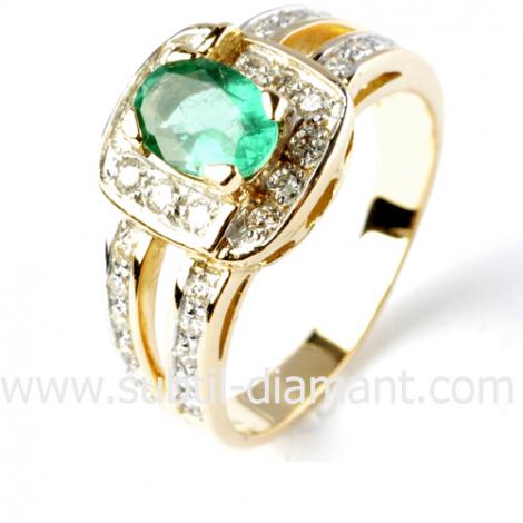 Bague émeraude en Or Blanc diamant Mahély - 12375 EM