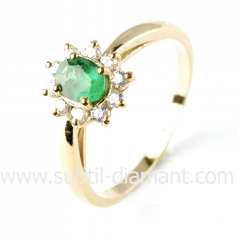 Bague émeraude en Or Blanc diamant Marie - 10382 EM