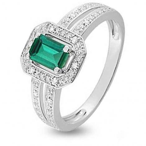 Bague Emeraude en Or Blanc diamant Moéna - KS004GEB4