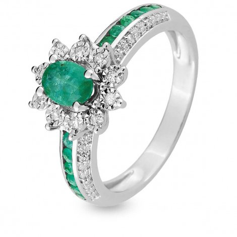 Bague Emeraude en Or Blanc diamant Moerava - MAB04GEB4