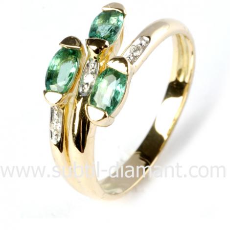 Bague émeraude en Or Blanc diamant Paola - 11285 EM