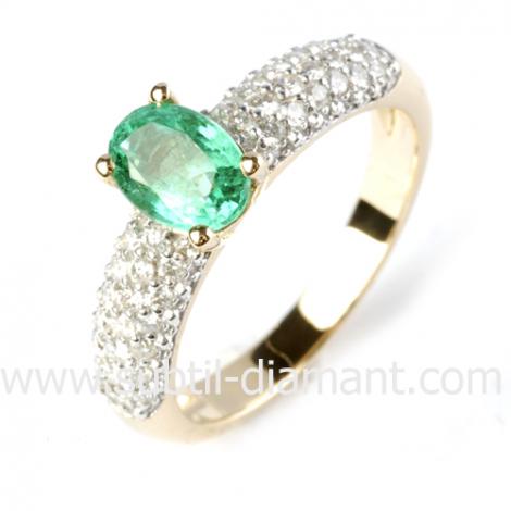 Bague émeraude en Or Blanc diamant Paula - 12361 EM