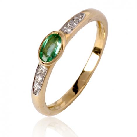 Bague émeraude en Or Blanc diamant Romane - 12553EM