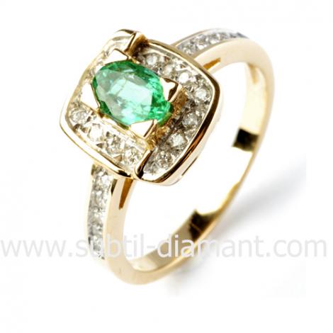 Bague émeraude en Or Blanc diamant Tanya - 12512 EM