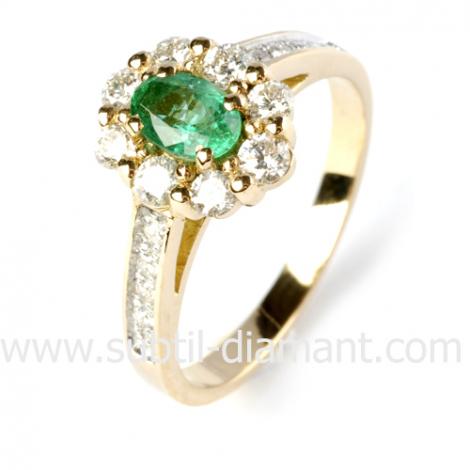 Bague émeraude en Or Blanc diamant Valeria - 12528 EM