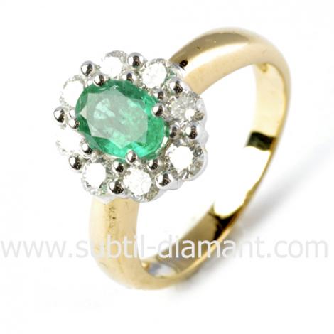 Bague émeraude en Or Jaune diamant Aurore - 11516 EM
