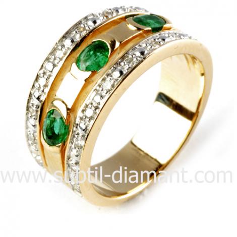 Bague émeraude en Or Jaune diamant Élya - 11446 EM