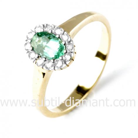 Bague émeraude en Or Jaune diamant Kalima - 11696 EM
