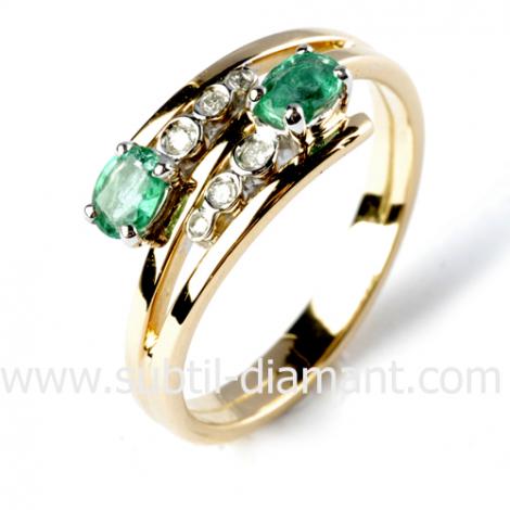 Bague émeraude en Or Jaune diamant Korail - 12580 EM