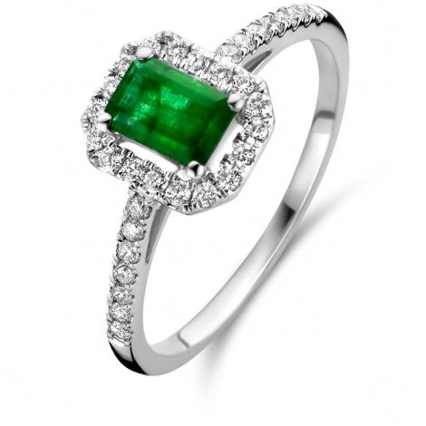 Bague Emeraude et Diamants en Or Blanc diamant Clarisse - 91HC51EA