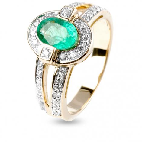 Bague émeraude et diamants en Or Blanc diamant Rosalie - 12385EM