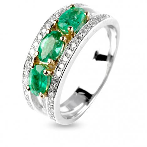 Bague émeraude et diamants en Or Blanc diamant Roxanne - 12296EM