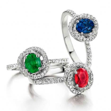 Bague Emeraude et diamants en Or Blanc diamant Virginie - 055701-EA