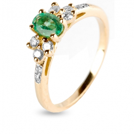 Bague Emeraude et diamants en Or Jaune diamant Aliya - 12433EM