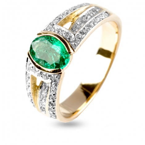 Bague émeraude et diamants en Or Jaune diamant Charlotte - 11585EM