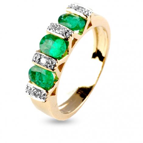 Bague émeraude et diamants en Or Jaune diamant Clémence - 10559EM
