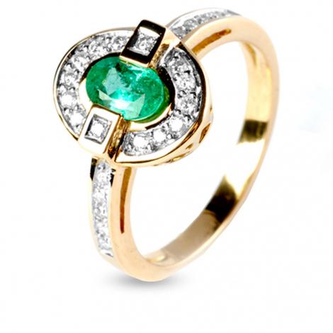 Bague émeraude et diamants en Or Jaune diamant Cristina - 12511EM