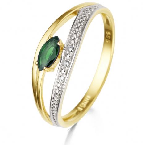 Bague Emeraude et Diamants en Or Jaune diamant Gabriela - 060743EA