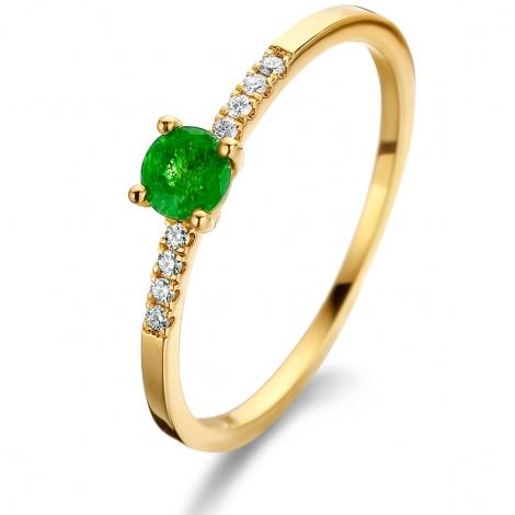 Bague Emeraude et Diamants en Or Jaune diamant Rava - 061657EA