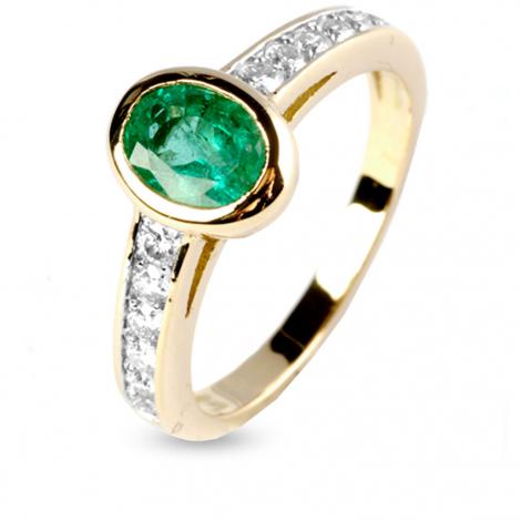 Bague émeraude et diamants en Or Jaune diamant Romance - 12363EM