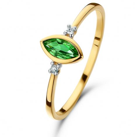 Bague Emeraude et Diamants en Or Jaune diamant Saturne - 060749EA